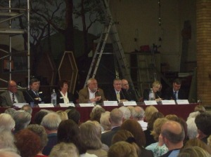 The panel at the Penwortham Leisure Centre debate, the borough council on the left and the college on the right